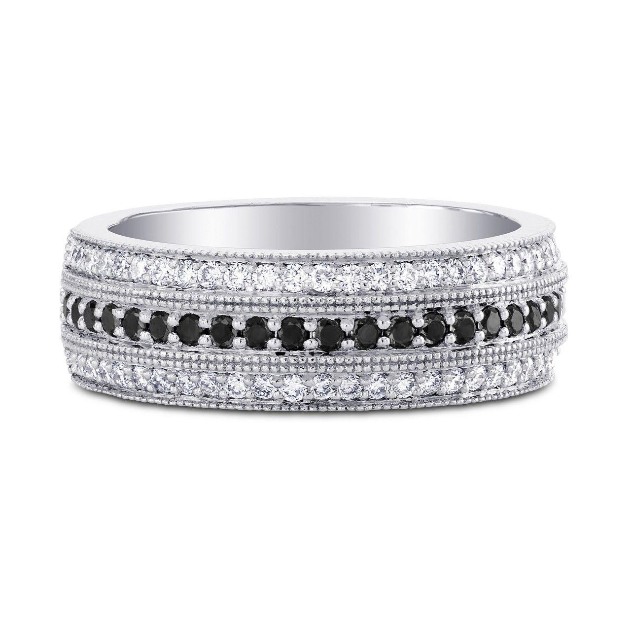 Wide Black Diamond Milgrain Wedding Band Ring, SKU 215469