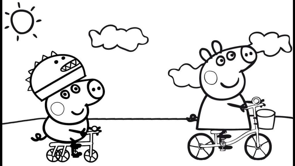 Peppa Pig Cycling With George Coloring Page Wenn Du Mal Buch Malvorlagen Fruhling Ausmalbilder