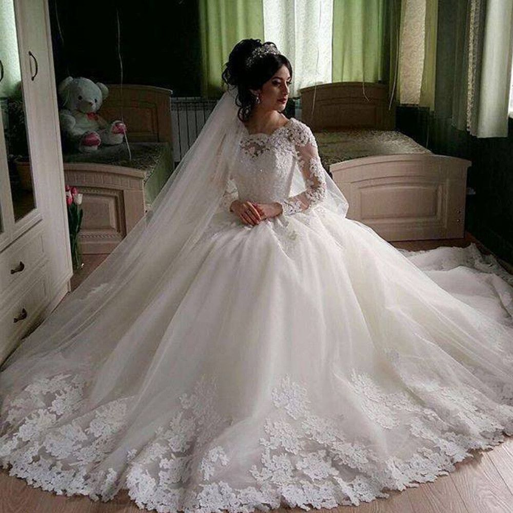 Gorgeous Sheer Ball Gown Wedding Dresses 2017 Puffy Beaded: Long Sleeve White Wedding Gown In 2020
