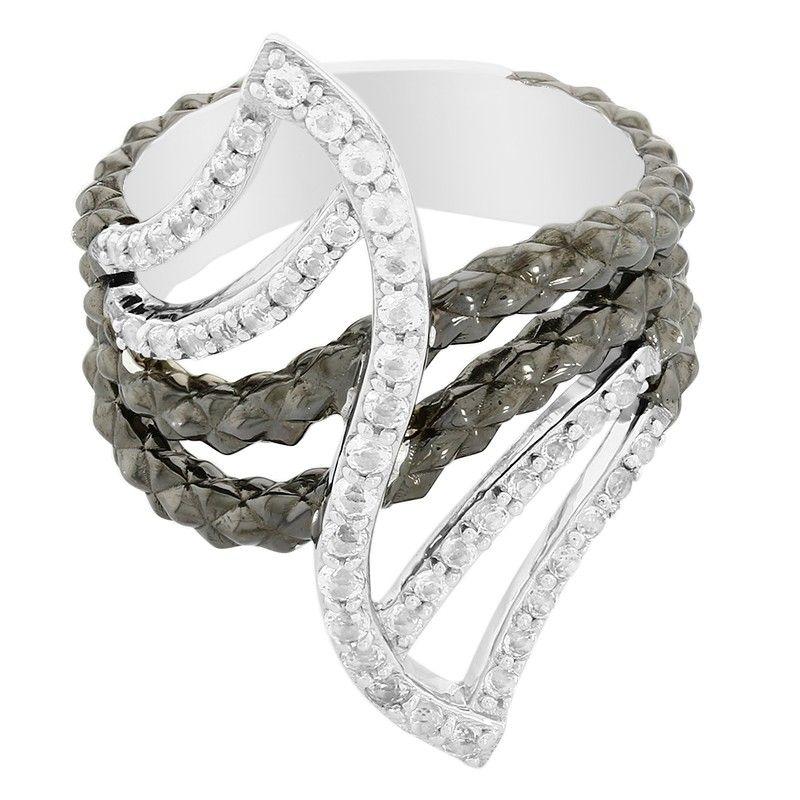 fbebb725004a54 Bague pour femme sertie de Topazes blanches - Bijoux en argent massif -  Juwelo Bijouterie en Ligne