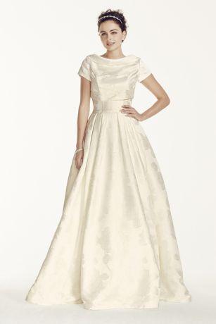 e5f5b3c1819 Oleg Cassini Jacquard Wedding Dress with Jacket CWG698