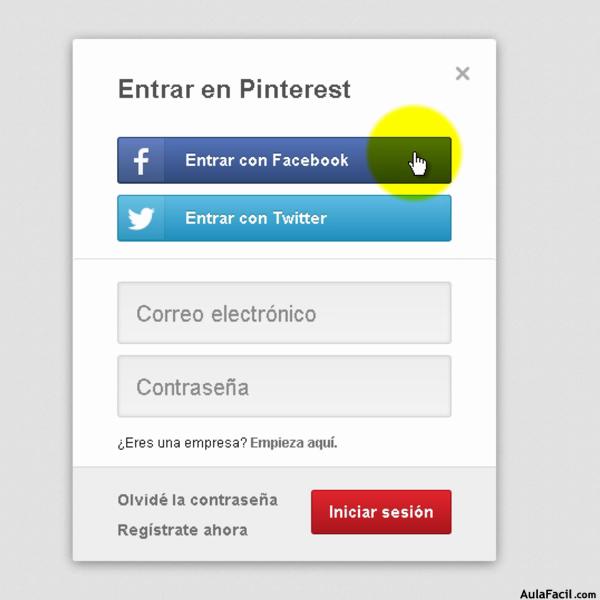Entrar Con Facebook Pinterest Redes Sociales Entrar