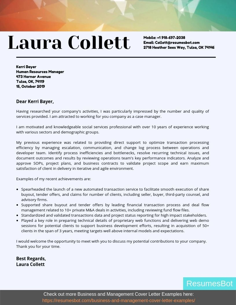 Case Manager Cover Letter Samples & Templates [PDF+Word