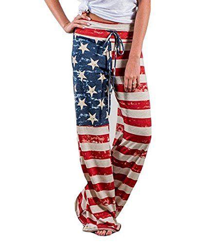 Womens Pants USA American Flag Print Casual Fashion Casual Drawstring Joggers Trousers Sweatpants
