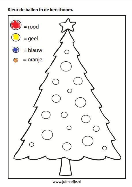 kleurplaat ballen kleuren naar kleur en vorm kerst