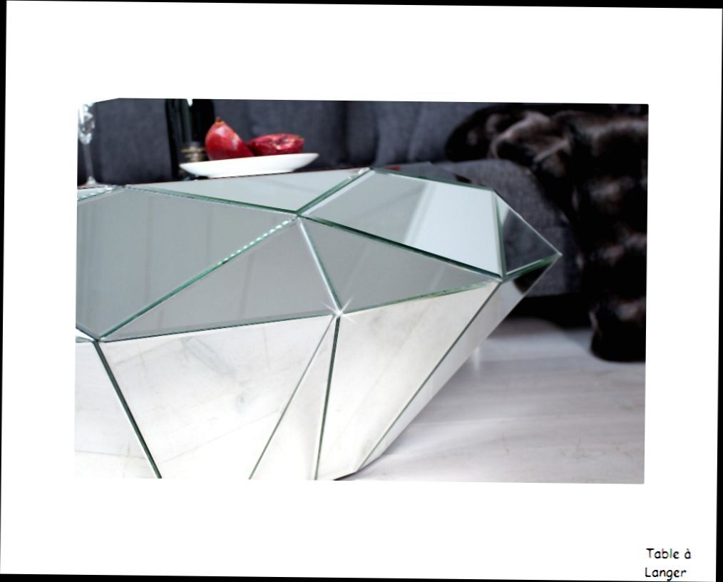 table basse design table basse miroir diamant facette verre miroir design contemporain id es. Black Bedroom Furniture Sets. Home Design Ideas