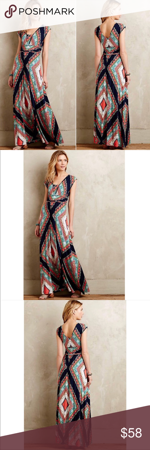 "ANTHROPOLOGIE Maeve Verda Maxi Dress ANTHROPOLOGIE Maeve Verda Maxi Dress  Size m e d i u m. Armpit to armpit 16"" 45edff06934"