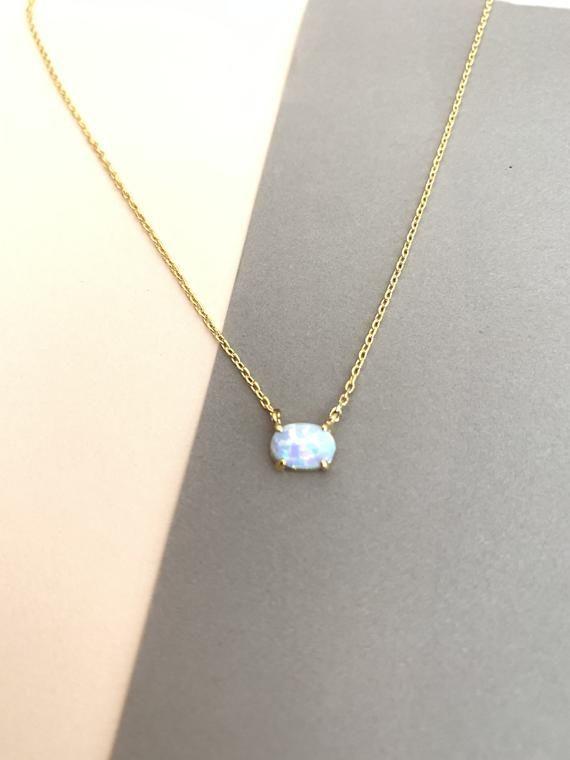 Tiny Opal necklace, Oval OPAL Necklace, Gold Opal necklace, October Birthstone Necklace, Birthday Gift