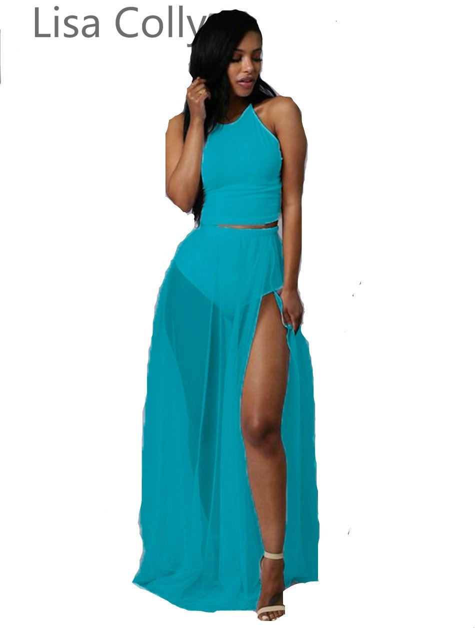 Lisa Colly Split 2 Pieces Set Women Bodycon Dress vestido de festa ...
