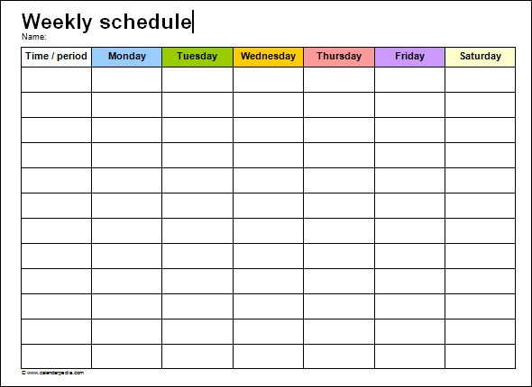 Weekly Schedule Template Word  Chris W    Schedule