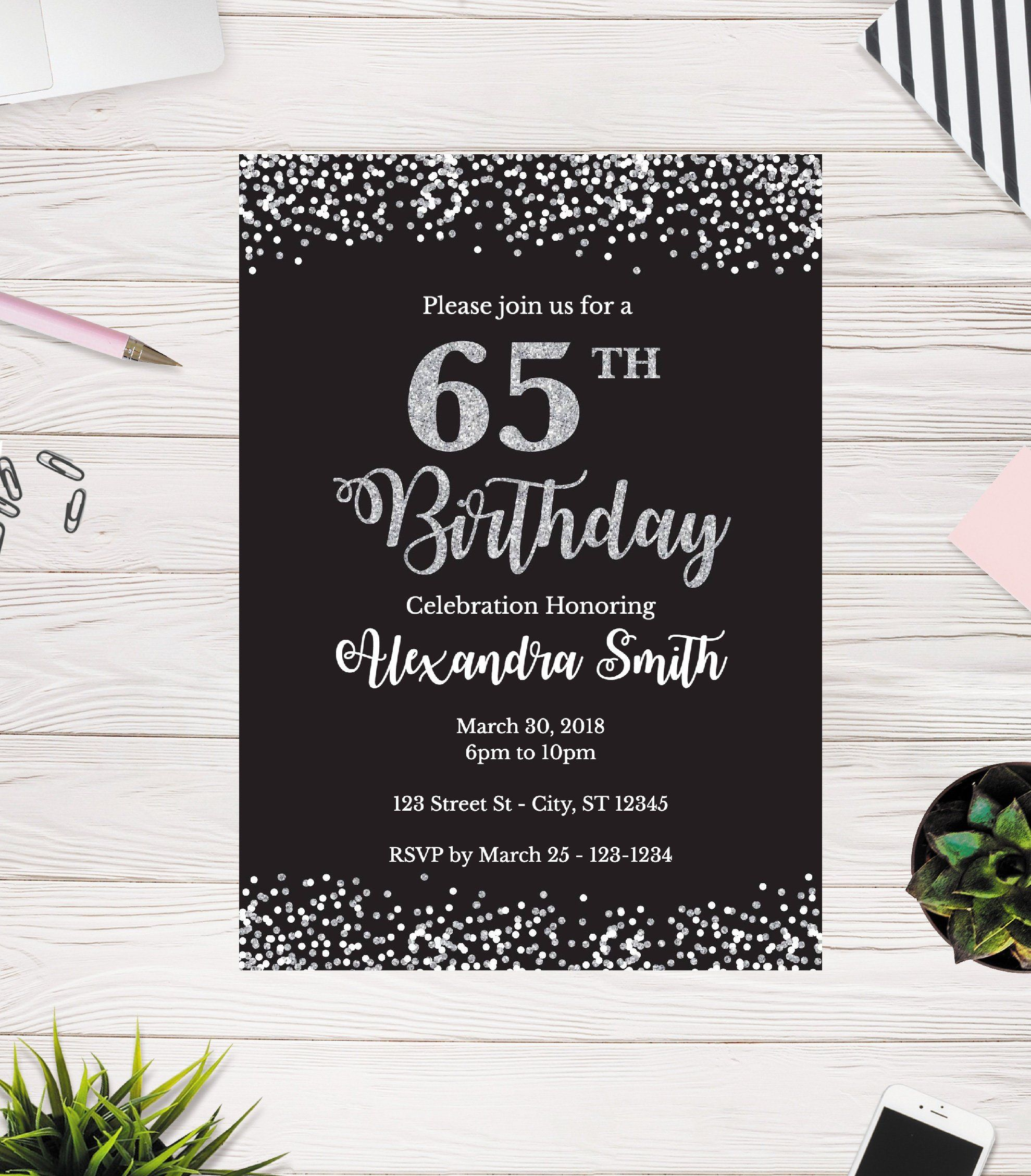 65th birthday invitation 65th birthday