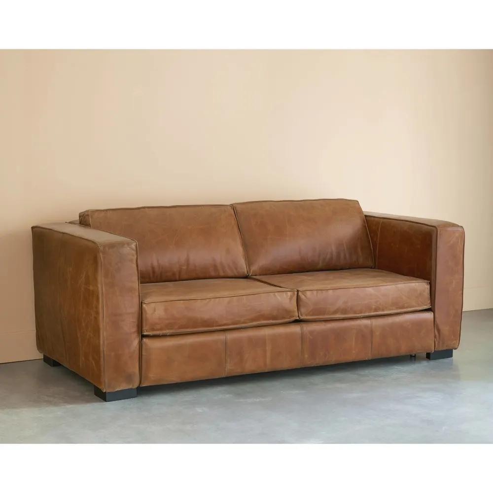 Ausziehbares 3 Sitzer Sofa Aus Leder Braun Antik Berlin Maisons Du Monde Ledersofa Sofa Bett 3 Sitzer Sofa