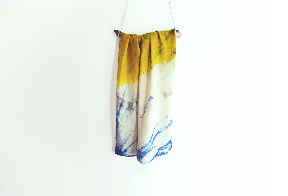 Alchemy Textiles Workshop - Palmetto Loop Scarf dyed naturally with indigo, turmeric, and osage orange tree and made of silk habotai (photo: Meghan McNeer).