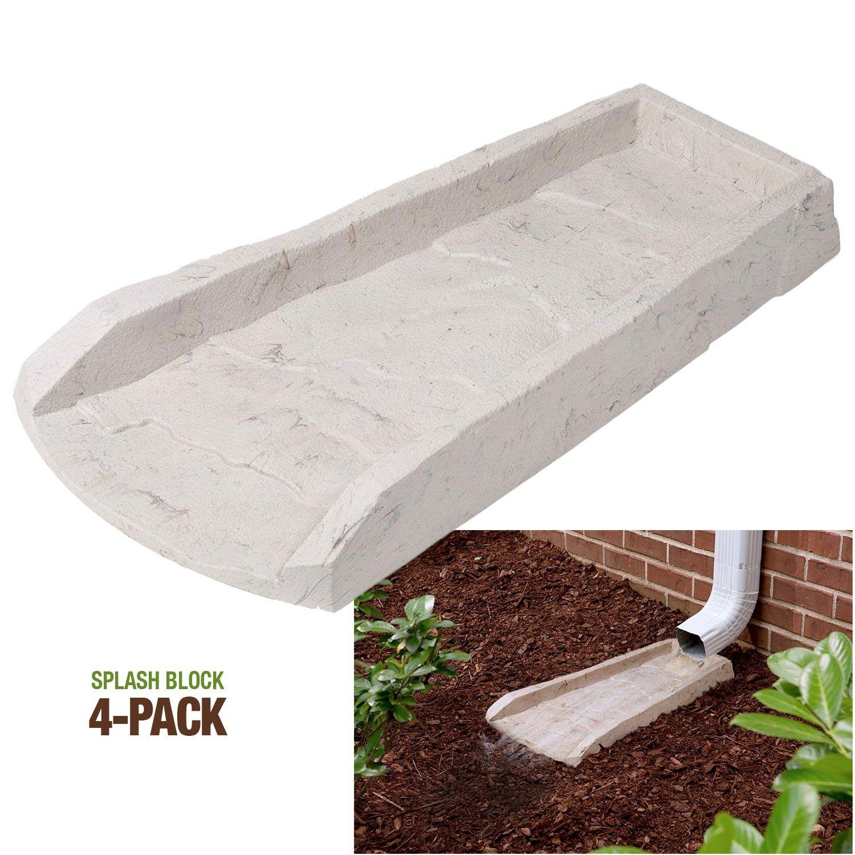 Amerimax 4 Pack Decorative Downspout Natural Stone Texture Splash Block Rain Gutter Drain Extender Splash Blocks Stone Texture Decorative Downspouts