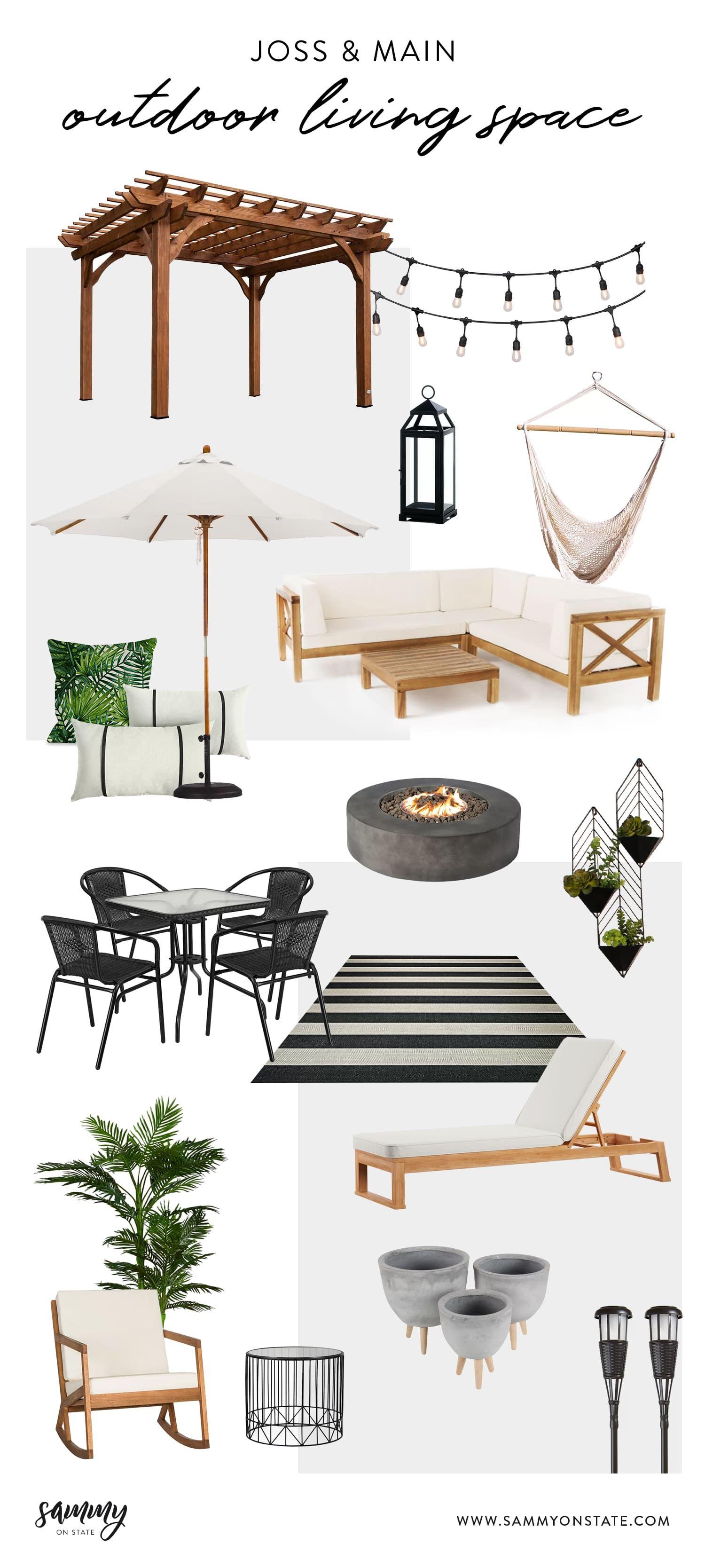 Outdoor Living Space Design Inspiration with Joss & Main #backyardoasis