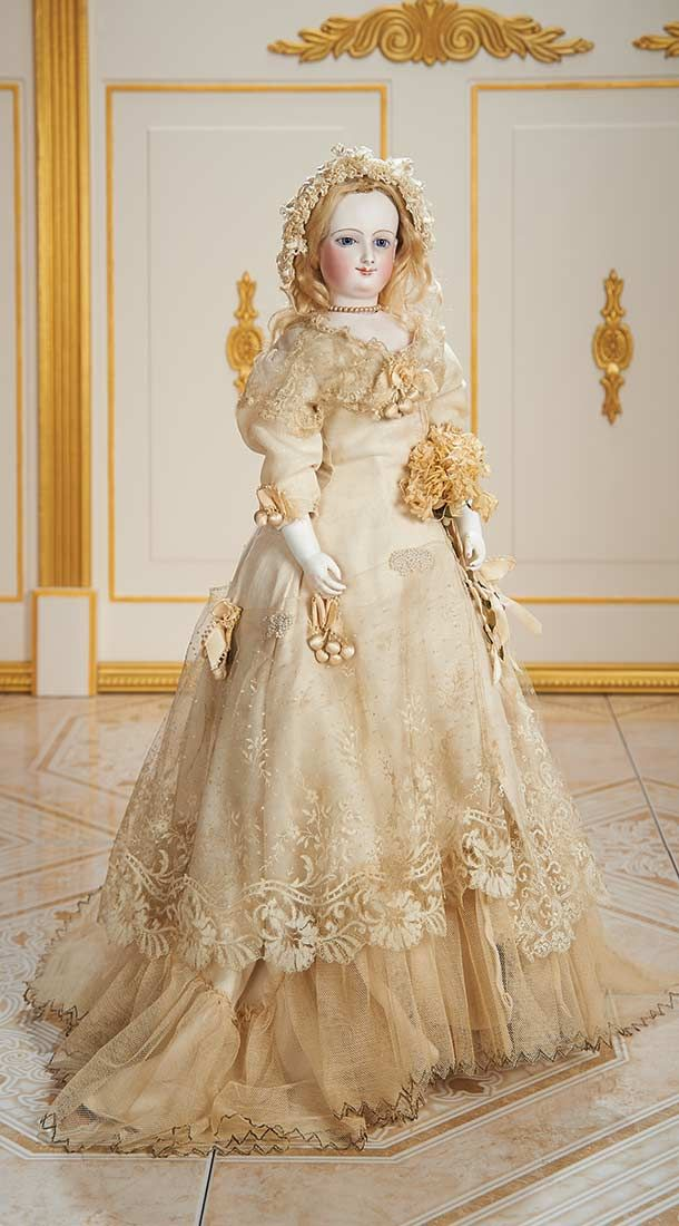 View Catalog Item - Theriault's Antique Doll Auctions . Exquisite French Bisque Smiling Poupee by Leon Casimir Bru,Size I,with Bisque Arms