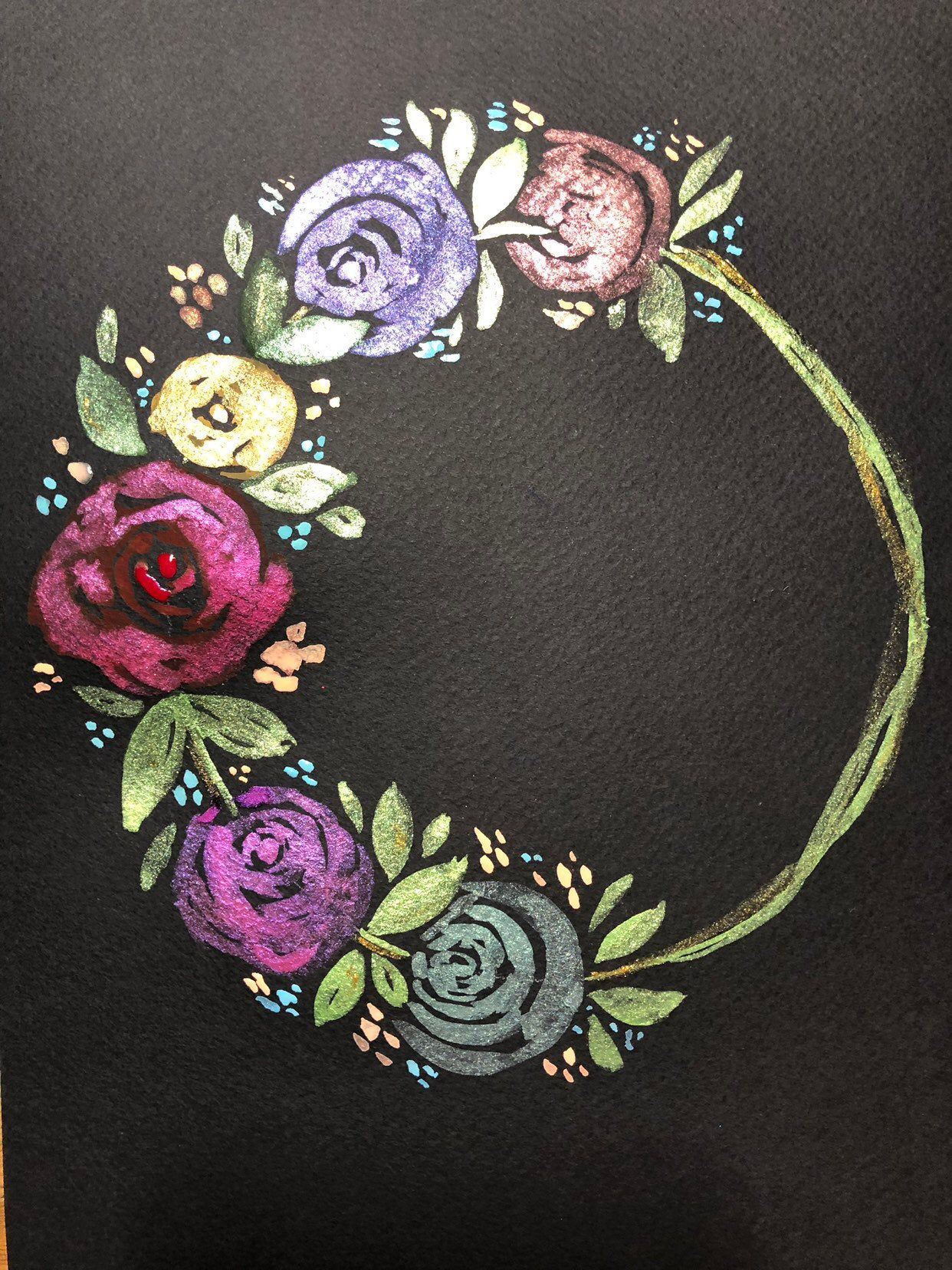 Floral Wreath In Watercolor On Black Paper Black Paper Drawing