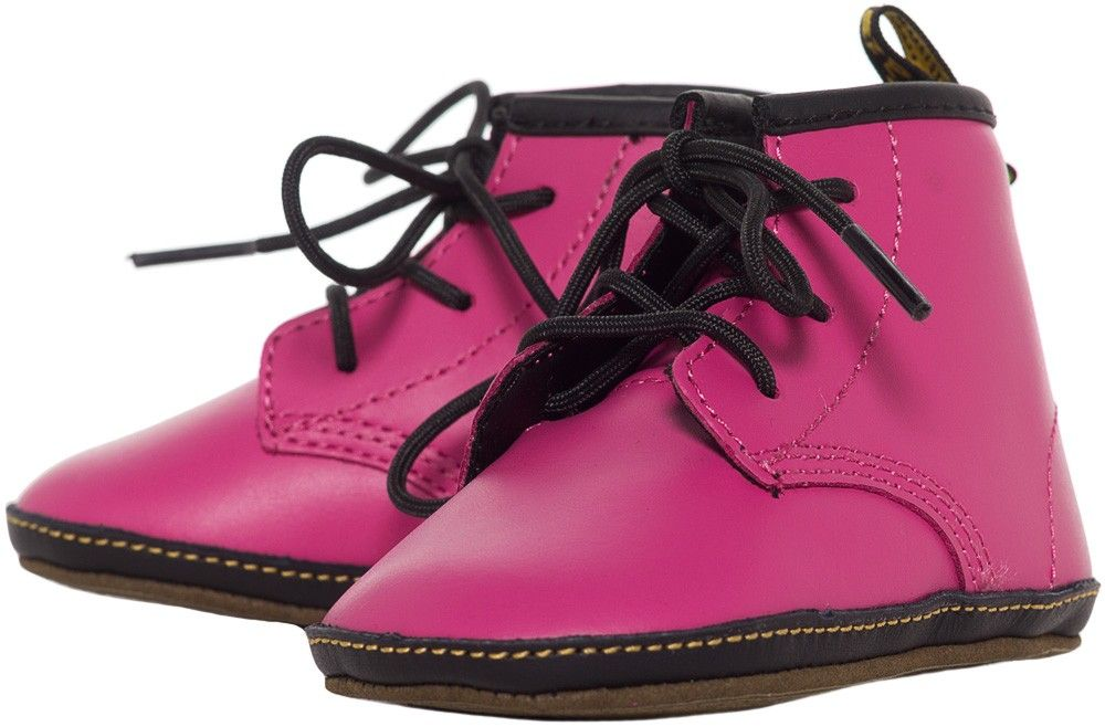 2aa50313f006 DR MARTENS KIDS AUBURN CRIB BOOTS HOT PINK Make your baby a punk rock  princess with her first pair of docs! The sole on these lace up booties is  printed to ...