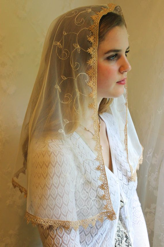 Evintage Veils~ Soft Ivory and Gold Lace Chapel Veil Mantilla Infinity Latin Mass