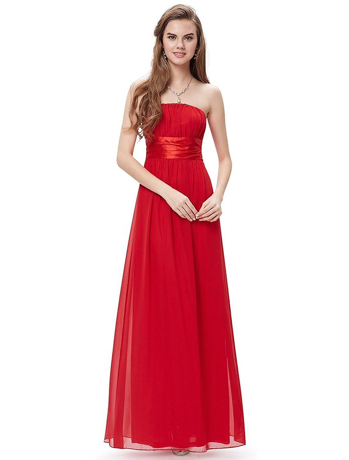 Simpledress simple strapless empire waist bow sash show toes evening