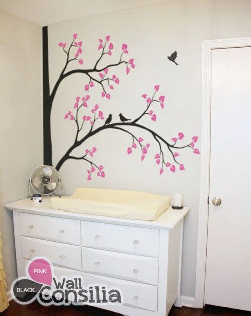 In Stock $126.00 www.wallconsilia.com  Decorative corner tree decal set with leaves and birds Instantly transform your room into a wooded wonderland with a mural-sized vinyl wall sticker. This modern corner tree design also called wall tattoo features branches with cute songbirds and adds whimsy to your walls.  #Decals #Nursery #Bedroom #Trees #Birds #DIY #HomeDecor