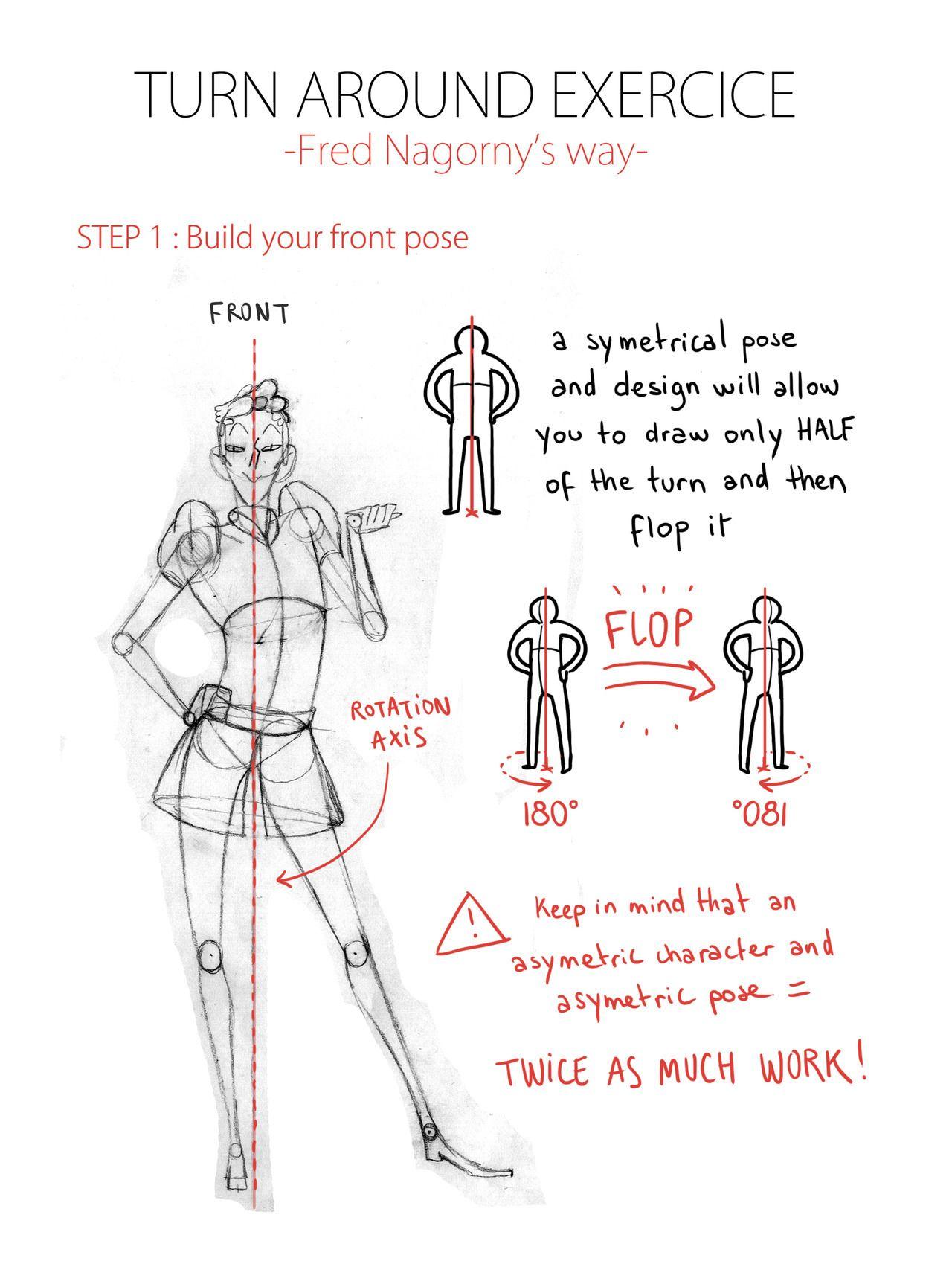Halo! A friend of mine asked me to teach him the Gobelins way to animate a turn around, so I drew... - #2d #Animation #around #crfa19 #gobelins #hereyougoKarlo #turn