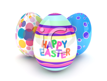 iCLIPART - 3D Illustration of Easter Eggs with Easter Greetings