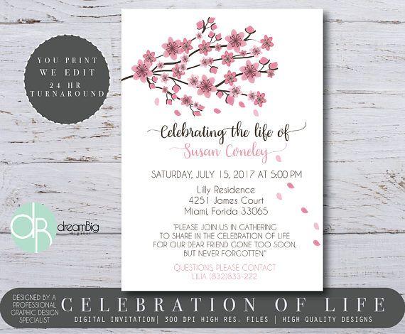 Celebration Of Life Invitations Cherry Blossom Tree