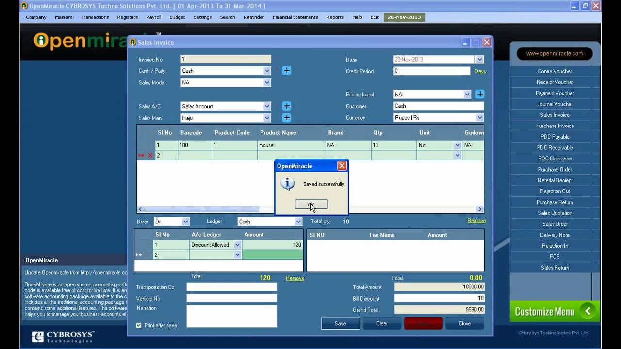 Sales Invoice Openmiracle  The Free Open Source Accounting