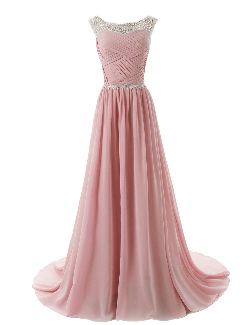 Dressystar Herzform Chiffon Lange Brautjungfernkleid Perlen Ballkleid Rosa in Größe 38