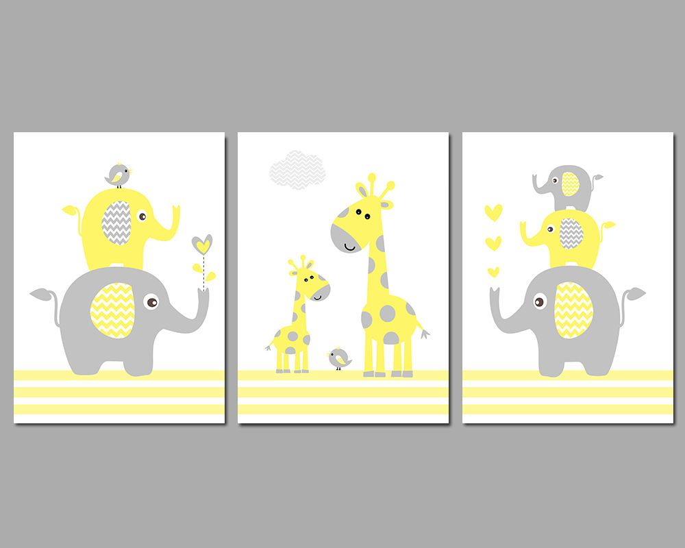 3 Wall Art Nursery Prints Yellow & Grey Elephant Stack Giraffes ...