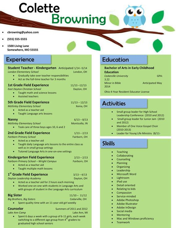 Resume For Teachers Examples Owl On A Branch Resume  Owl Teacher And Teaching Resume