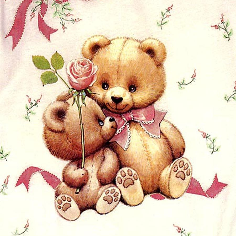 Two Full Color Fashion Art Iron On Transfers Teddy Bears Roses