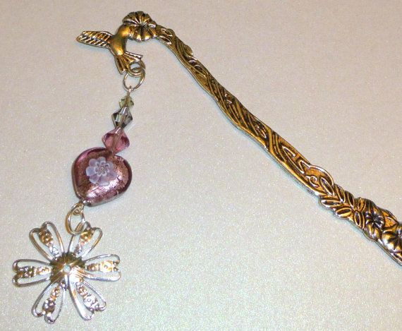 Silver Flower Bookmark with Tropical Flowers & by BlissfulVine, $7.25