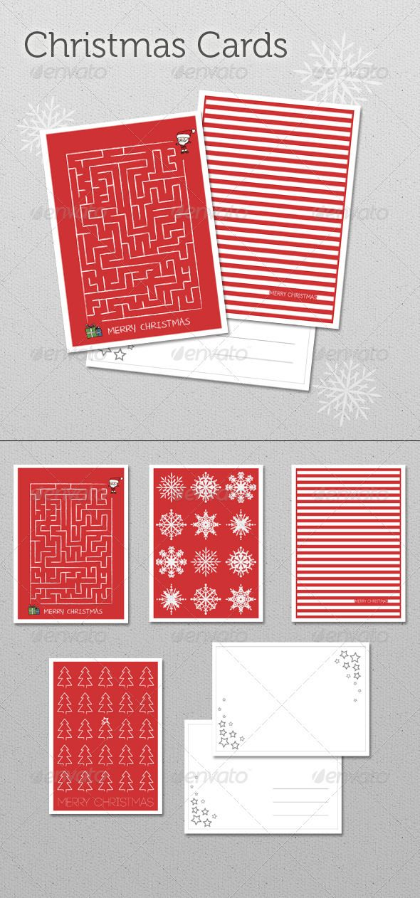 Christmas Cards Set 6 Christmas Card Template Christmas Cards Unique Christmas Cards