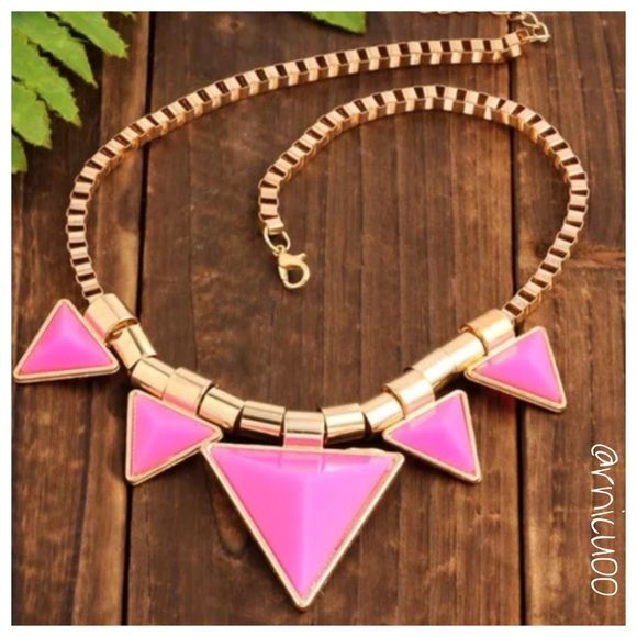 """Trendy Pink Triangle Statement Necklace! Hot Pink & Gold Triangle Statement Necklace!Neon & Geometric are top Fashion Trends!  -Materials: Alloy & Rhinestone  -Lead & Copper Free -Chain Length ~ 18"""", 2"""" adjustable extender, Lobster clasp closure -Pendant Size: Approx. 1.5"""" X 1.5""""   -Price Firm unless Bundled! -Bundle 2 or more items for 20% Discount! -❌Trades Posh Rules Only Jewelry Necklaces"""