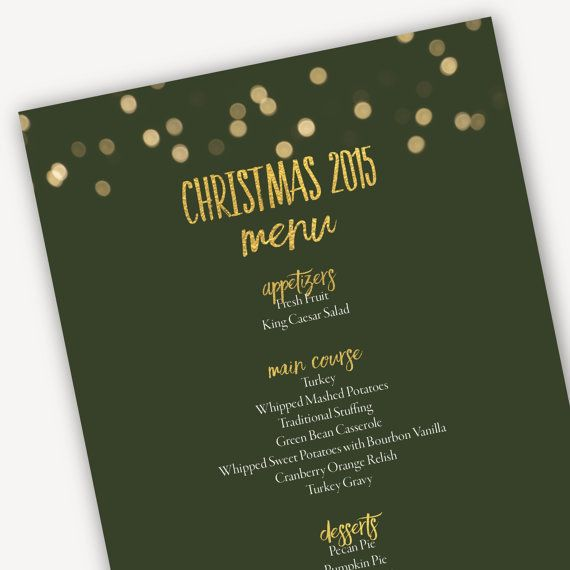 Lovely Printable Christmas 2016 Menu Template | Green Bokeh Lights | Christmas Menu  | Microsoft Word Template Instant Download Ideas Christmas Menu Word Template