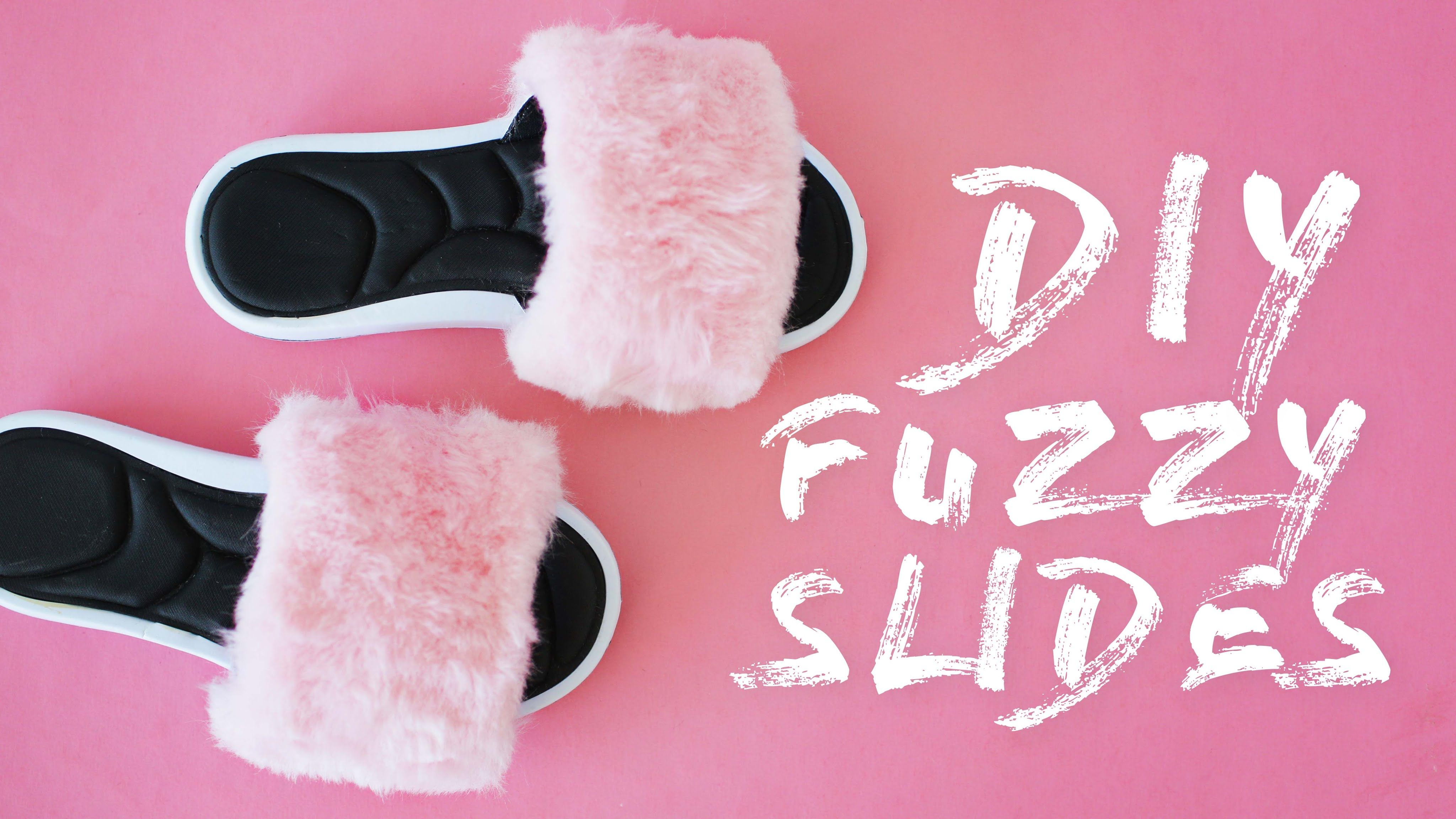 diy rihanna inspired fuzzy slides | the sorry girls | upcycle