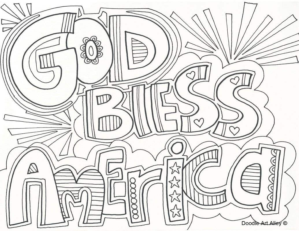 God bless America coloring page July colors, Coloring