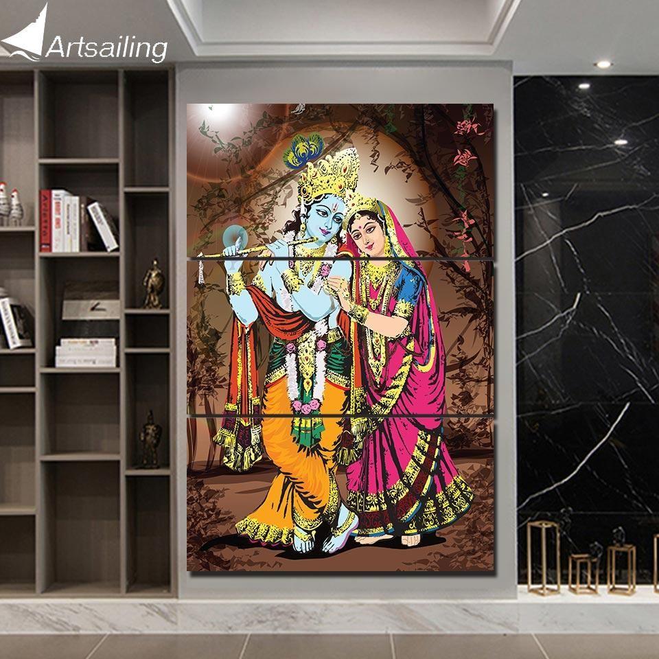 Radha Krishna 3 Piece Hd Printed Canvas Art Wall Art Canvas Painting Wall Art Designs Krishna Painting