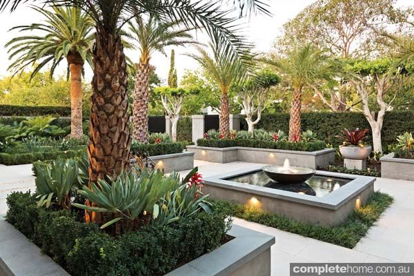 Simple Formal Lines Merge With Lush And Layered Tropical Planting To Create An Ambiance Of Bal Tropical Landscape Design Tropical Landscaping Landscape Design