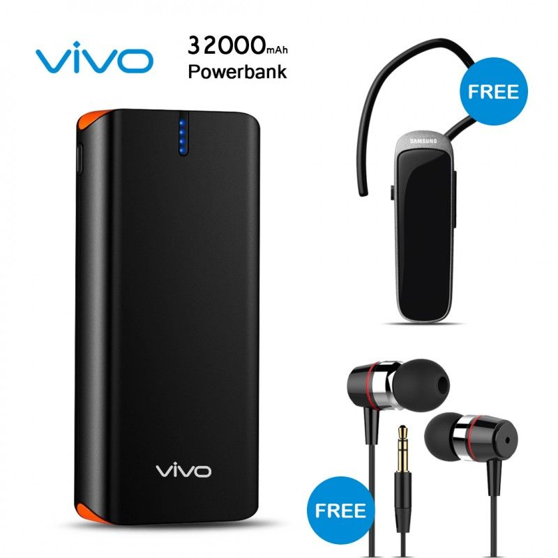 Buy Vivo 32000mah Power Bank With Free Samsung Bluetooth And Earphone Rs 1180 Wishingone Com Powerbank Mobile Accessories Buy Headphones