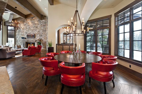 Leather Red Leather Amrchairs For Dining Room   Home Decorating