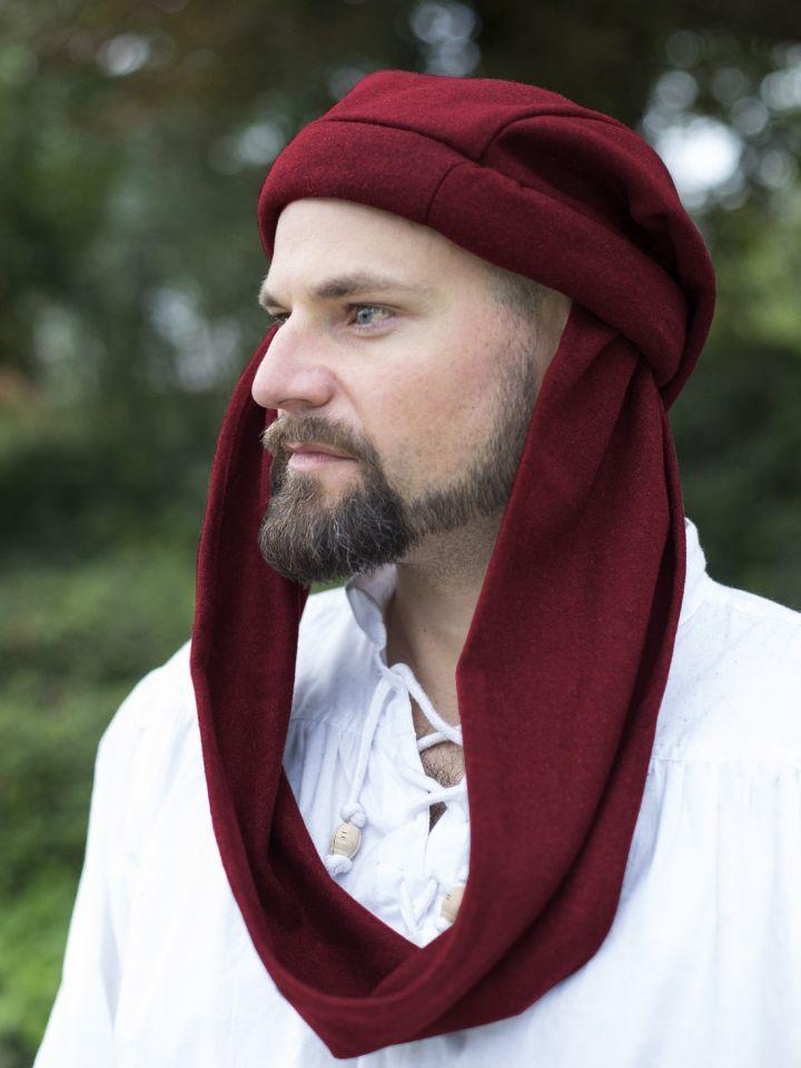 Chaperon aus Wolle rot   Kopfbedeckung, Ritterladen, Hut