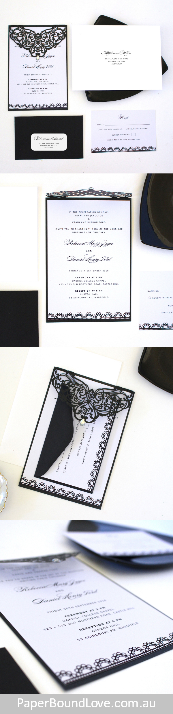 Ornate | Back & White wedding invitation by Paper Bound Love ...