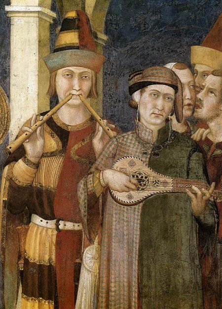 TWO RECORDERS TOGETHER This painting by Simone Martini (1312), shows a musician playing two recorders together, giving a possibility of simultaneously playing a tune and a drone or simple accompaniment. The tune and accompaniment can even be passed from one pipe to the other. Joining the two together makes them easier to play since they form a single rigid instrument.