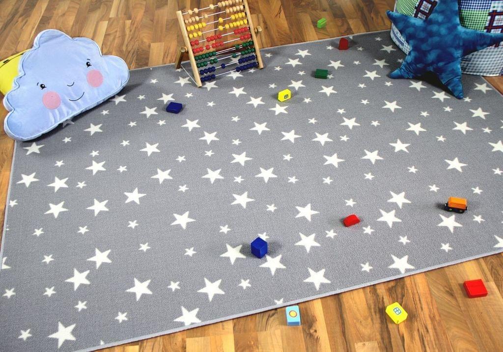 Kinder Spiel Teppich Sterne Grau, Größe:133×133 cm