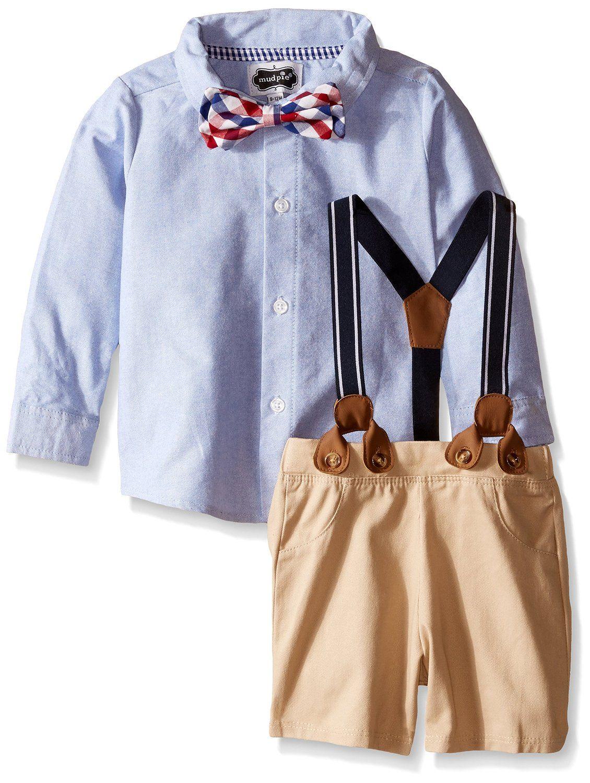 004d2b94e451 Amazon.com: Mud Pie Baby Boys' Suspender 2-Piece Short Set: Clothing ...