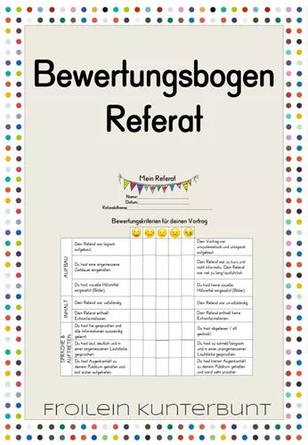 Bewertungsbogen Referat Unterrichtsmaterial Im Fach Fachubergreifendes Lehrmaterial Unterrichtsmaterial Unterricht Schule