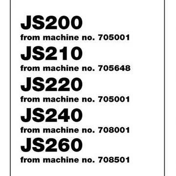 JCB JS200, JS210, JS220, JS240, JS260 Tracked Excavator